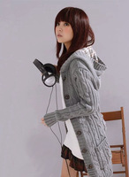 Free Shipping 2013 autumn women's fashion new arrival plaid cap twisted medium-long cardigan sweater outerwear