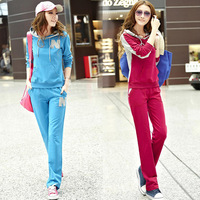 2013 spring Women fashion sweatshirt casual set long-sleeve sportswear with a hood