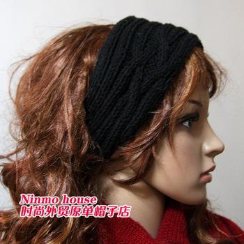 Free shipping! Street fashion all-match yarn hair bands hair band cap black white
