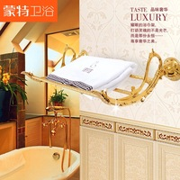 Free shipping luxury European golden embossed wall towel rack & holder wedding bathroom set products bathroom storage organizer