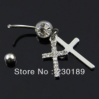 New 316L Double Pray Cross Crystal Navel Belly Barbell Ring Body Dangle Piercing Dazzling Rings Jewelry FreeShipping