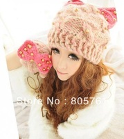 autumn and winter with pearl hat autumn cat ears hat knitted hat warm hat 2013 new fasion