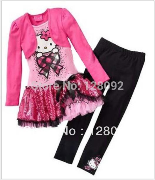 Free Shipping 5sets/lot Children Clothing Set Girls Cartoon 2pcs set (dress+leggings) Casual Fashion suit Kids clothes outfits(China (Mainland))