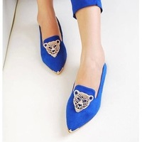 2013 spring and autumn of mushroom fashion leopard head candy color single shoes pointed toe flat heel flat female shoes