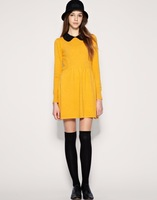 2013 Fashion Woman Yellow Pet Pan Collar Cute British 60s Autumn Shift Dress For Women