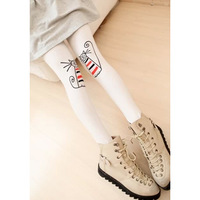Free Shipping 2013 New Fashion cat knee legging personalized print the cat ankle length trousers legging