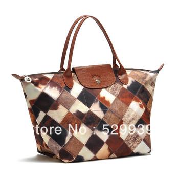 Free shipping,T single Large short shank horsehair pattern patchwork handbag,shopper bag