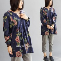 High quality loop pile cotton big flower cute open body sweatshirt blue