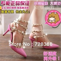 Fashion rivet shoes high-heeled shoes pointed toe hasp thin heels sandals shoes rivet valentin pointed toe shoes female sandals