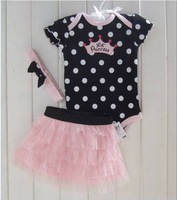 Toddler Clothes Wave Point Rompers + TuTu Skirt + Hairband 3pcs Girls Sets Baby Newborn Suits 1 Set Retail RT192
