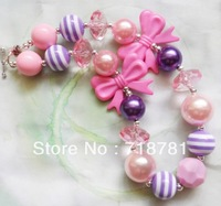 Free Shipment!2PCS/Lot Nice bowkont chunky beaded bubblegum necklace Wholesale/Retail for child/kid/girl DIY jewelry!
