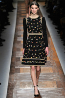 Женское платье 2013 autumn black & white Fashion Catwalk Twinset Stretched Sweater Ball Gown Dresses Printed