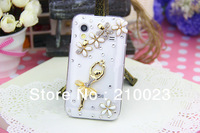 Free shipping 1PCS For Samsung Galaxy Ace S5830 Luxury Handmade 3D Ballet Girl Crystal Diamond Bling Cover Case+ 1 Dust plug