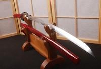 RED Samurai Sword Japanese Katana Sharpened FOR Battle Full Tang CAN CUT Bamboo