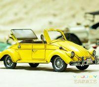 Metal car model toy antique model car models vw beetle - yellow