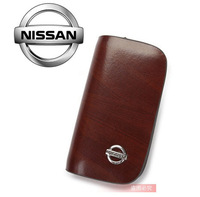 Genuine Leather Key Bag For Nissan Sunny TIIDA X-Trail Teana Livina Qashqai case Car Logo Keychain Key Ring gift Free HK post