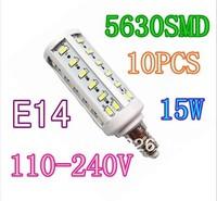 10Pcs/lot Pure White 15W 50 LEDS 5630 SMD E14 Corn Light Bulb 220V Lamp,Free shipping,Drop shipping