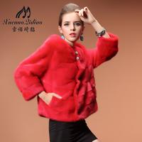 2013 female short design mink princess marten overcoat fur coat