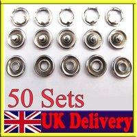 50 Set  8mm Metal Popper Snap Fasteners Press Studs Button Sewing, DIY Fashion