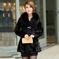 2013 fight mink hair medium-long marten overcoat fox fur coat