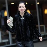 Princess hair mink fur coat mink fur overcoat women's hooded medium-long
