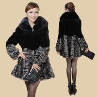 2013 marten fur overcoat mink women's medium-long marten velvet fight mink women's