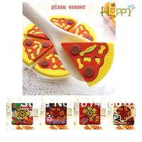 Happy365 Free shipping  12pcs/2set/lot  pizza eraser  funny food shape sandwich rubber small pizza eraser box bag