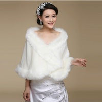 Free Shipping New High Quality Luxury Winter White Faux Fur Bride Bridal Wedding Shawl Wrap Hot Sale