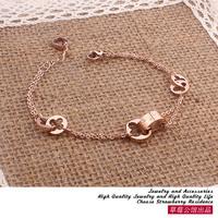 Louis four leaf grass petals bracelet double chain 14k rose gold female accessories