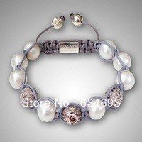 Free shipping fashion jewelry hot shamballa crystal pearl bracelet