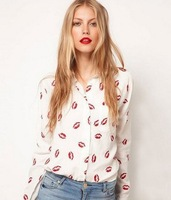 Lady Sexy Red Lip Kiss Print Long Sleeve Blouse Button Shirt Top Size S M L