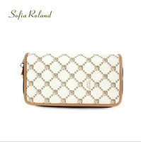 New sofia roland women Plaid embroidered double zipper wallet multicolor desiger