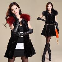 Mink 2013 mink vest outerwear raccoon fur medium-long female