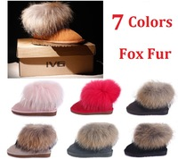 Hot Sale 2013 New Fashion Fox Fur Women's Winter Snow Boots 7 Colors Real Cow Leather Flat Heel Anti-Slip Outdoor Warm Shoes