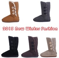Hot Sale 2013 New Fashion Women's Three Bailey Button Real Leather Snow Boots 1873 Australia Classic Tall Warm Winter Shoes