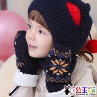 3252 winter infant thermal gloves yarn plus velvet gloves decorative pattern style gloves