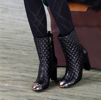 Small 2013 all-match nsutite plaid medium-leg boots genuine leather round toe high heel cowhide boots
