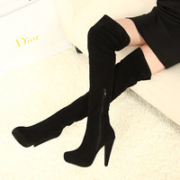2013 new booties for womens thigh high boots black high heels over the knee boots zipper platform fashion shoes large size us 10