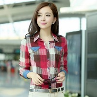 Women Button Down Casual Lapel Shirt Plaids Checks Flannel Shirt Top Blouse 02257113506 Free shipping
