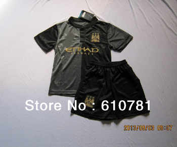 13/14 inter manchester city away kids soccer jereys boy soccer uniforms top quality shirts+shorts children soccer