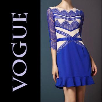 New Star Eyelash Women's Lace Cotton Stitching Slim Three Quarter sleeve Blue Dress Ladies Dress 2014 Spring European American