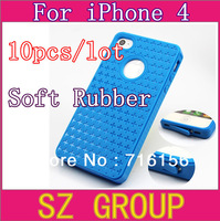 10pcs/lot Silicon TPU snap on cover skin for case iphone 4 case for iphone4s Free shipping Hot Selling cases