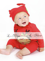 Popular Christmas baby romper/Long-sleeved baby romper with lovely deer pattern+hat/New year baby clothes