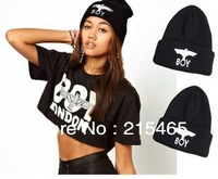 New arrive!2013 Winter New BOY LONDON Eagles Knitted Wool Cap Fashion Embroidered Black Warm Hat For Boy Girls' Beanies