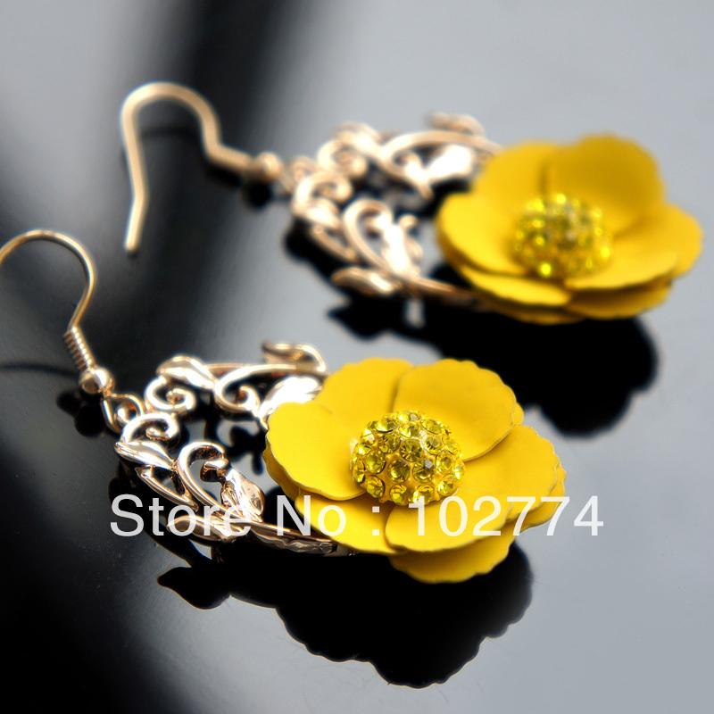 Double small yellow earrings long earrings cute earrings ear rings fashion jewelryE-29401(China (Mainland))