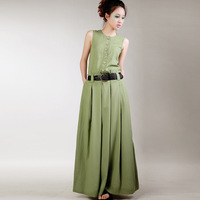 [LYNETTE'S CHINOISERIE - Ruosu ] Button linen sleeveless one-piece dress green tank dress full dress summer women's