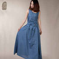 [LYNETTE'S CHINOISERIE - Ruosu ] Youoccasionally irregular lacing one-piece dress fluid o-neck female long skirt 2013 women's