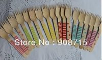 Free shipping 157mm disposable cutlery chevron&stripes&dots  Natural Wood Dessert Table Forks   ,wood Cutlery100PCS/lot