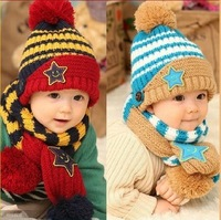 New 2013 Children's hats Christmas handmade cap winter hats for kids baby cap knitted hat scarf twinset