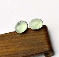 Natural prehnite stud earring green bitahai of willow gem 925 pure silver inlaying anti-allergic crystal earring